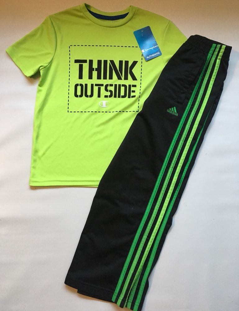 2777b9eb2eb5 Adidas Boy s Youth Size 7 Athletic Black Pants Fluorescent Yellow Shirt Top  NWT  AdidasChampion  Everyday