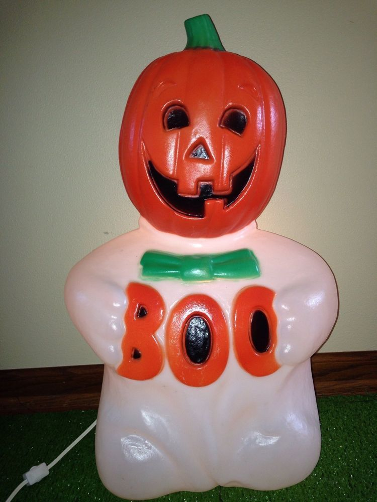 Rare Vintage 24 TPI Halloween Blow Mold BOO Ghost Lighted Yard Decoration