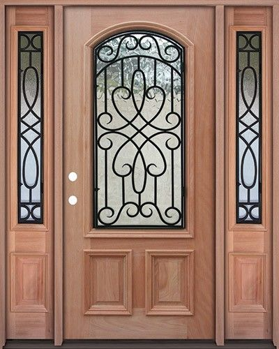 2/3 Arch Wrought Iron Grille Mahogany Prehung Wood Door Unit With Sidelites    Beautiful