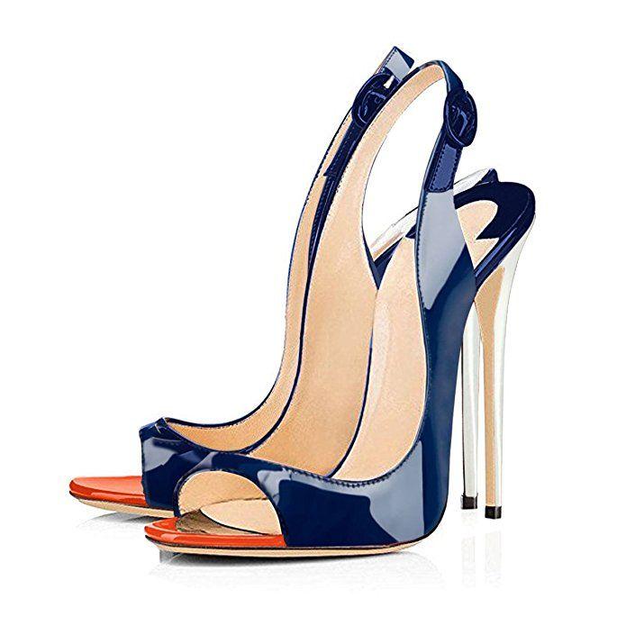 8075a66e95757 Amazon.com | Onlymaker Women's Peep Toe Slingback High Heel Pumps ...