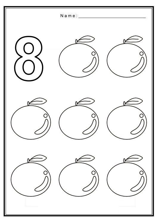 Free Coloring Pages Of Number 8 With Fruit Preschool Activity Sheets Preschool Coloring Pages Color Worksheets