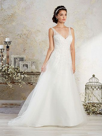 Alfred Angelo Style 8572: draped wedding dress featuring sheer tank ...