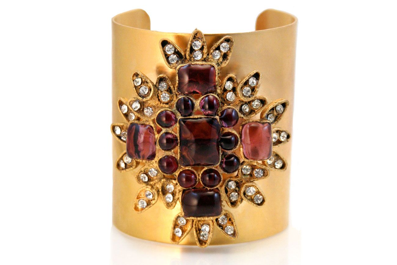 Gorgeous Chanel Paris Gold Gilt and Poured Glass Cuff at BuDhaGirl Museum