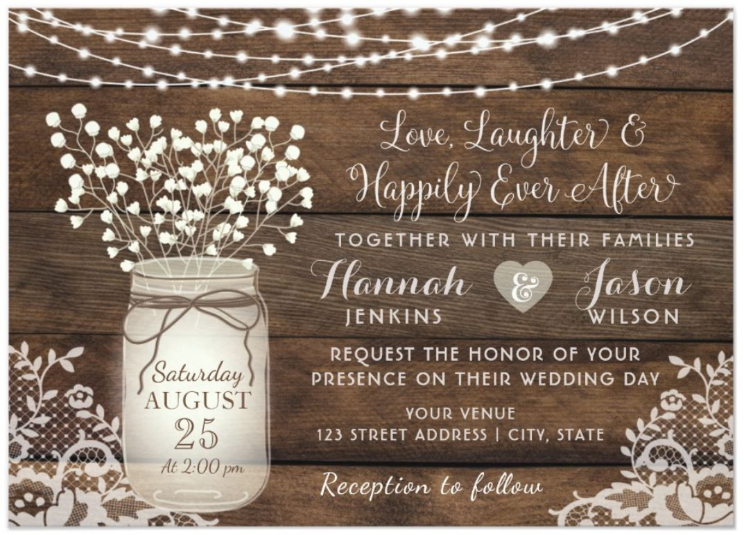 Rustic Wood and Lace Country Wedding Invitation with mason jar and string of lights Outdoor