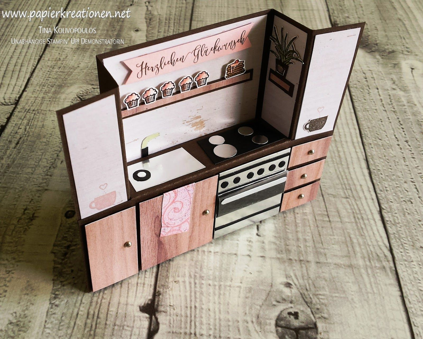 Bench Fold Card Little Kitchen With Mini Cupcakes Stampin Up Cards Handmade Folded Cards Bench Card