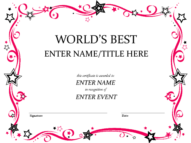 Worlds Best Custom Award Certificate Template By Misspowerpoint