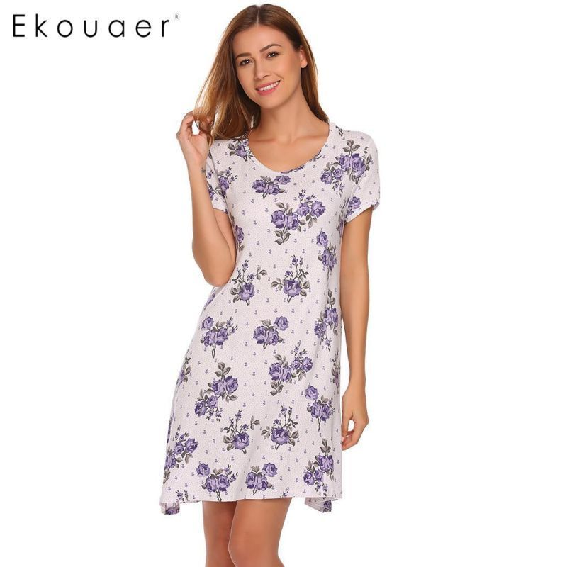 Women nighties nightgowns sleepshirt casual o-neck short sleeve floral  loose mini sleepwear dress lounge home nightdress  women  nightgowns  short   none ... 959663035