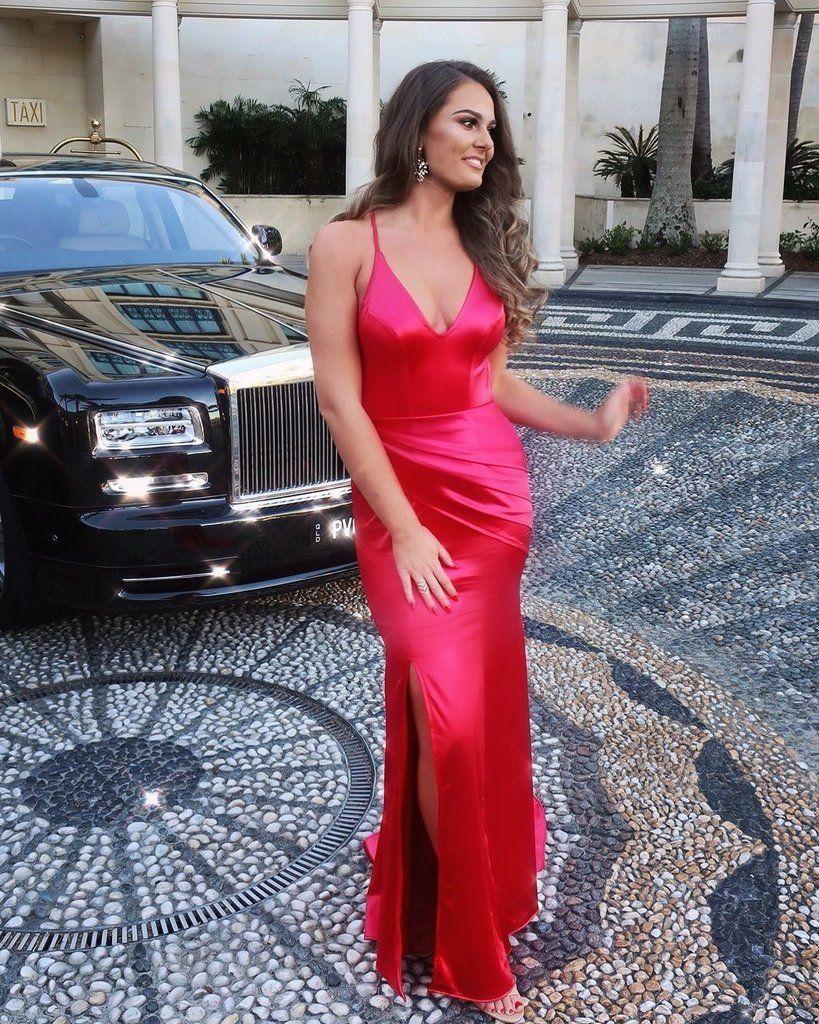 Charming mermaid soft satin vneck prom dresses red slit backless