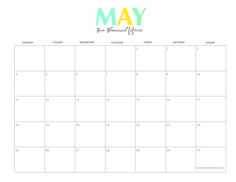 monthly calendars 2015