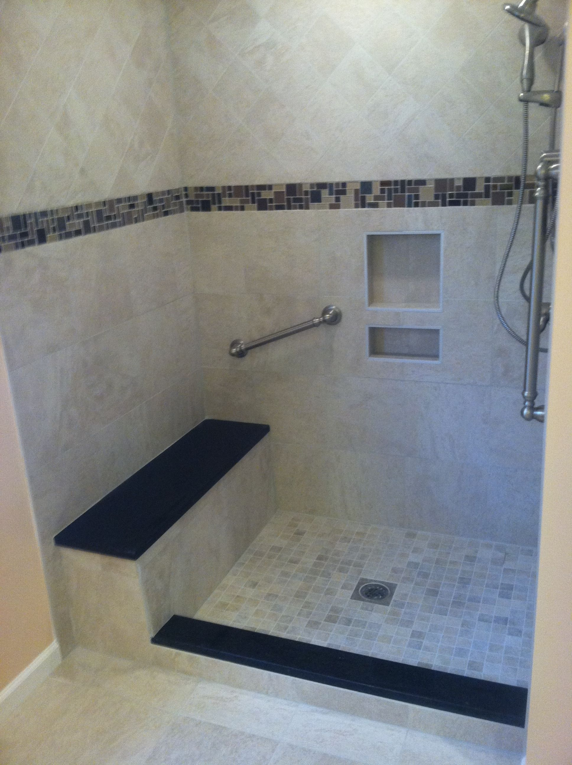 custom tile shower with bench seat and grab bars for safety w b rh pinterest com