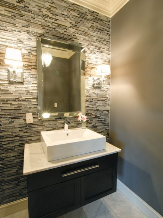 Beautiful half bath design with vessel sink and glass tile accent ...