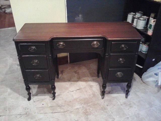 Vintage Desk Vintage Painted Desk Black And Walnut Stained Top