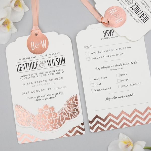 Sample – Modern Metallics Luxe Invitation in Rose Gold foil on Ivory