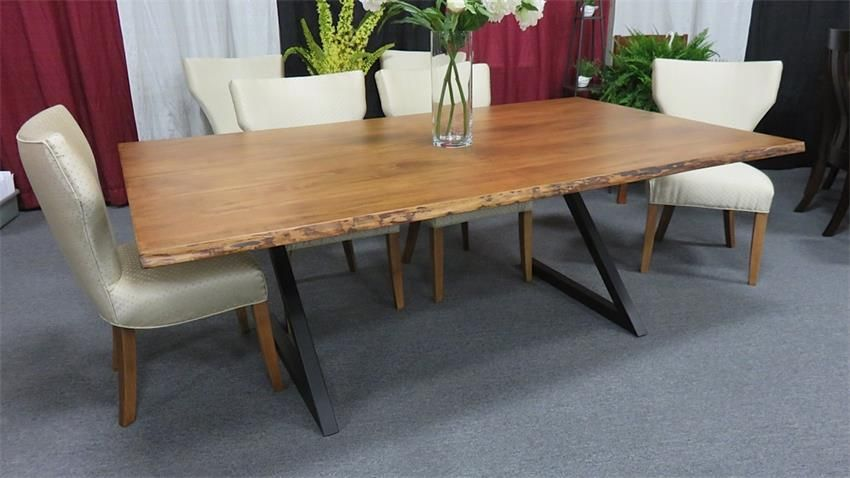 Natural Edge Dining Table With Steel Trestle Custom: Amish Manhattan Live Edge Dining Table With Metal Base
