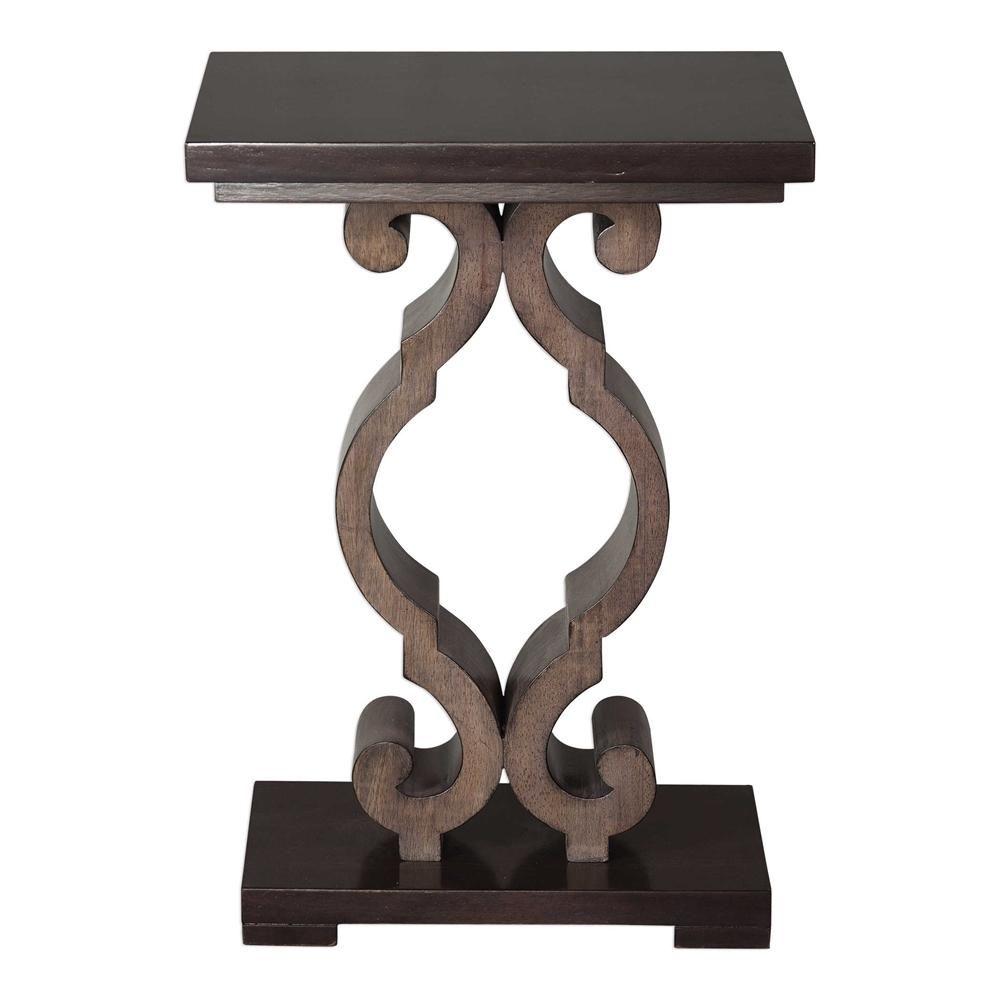 Constructed From Solid Hardwood Finished In A Warm Ebony Stain With An Intricate Decorative Support In Taupe Accent Table Wood End Tables End Tables