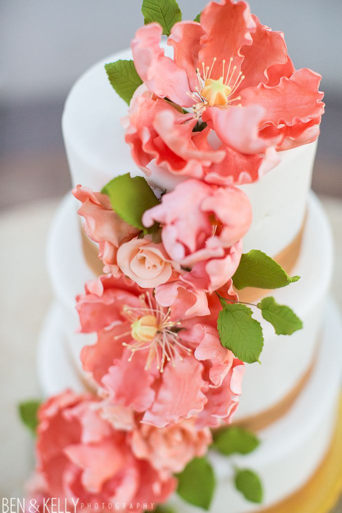 Coral And Gold Wedding Scottsdale Cake By Paula Jacqueline Bakery Planner Sip