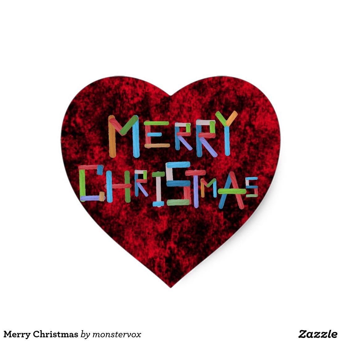 Merry Christmas Heart Sticker #MerryChristmas #Xmas #SantaClaus ...