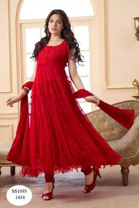 56eecdcf2d Red net frock | DRESSES | Anarkali suits, Long anarkali, Frock design