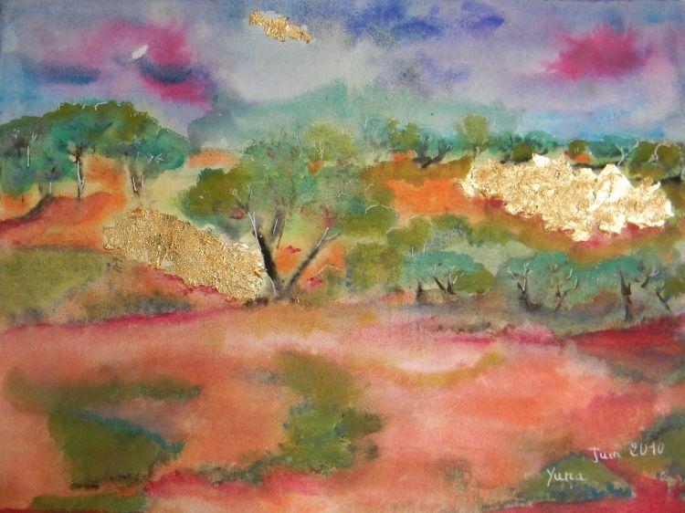 Tableau Peinture Aquarelle Paysage Peinture Art Le Jardin De L
