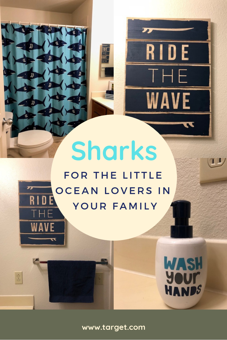 Shark Shower Curtain Navy Pillowfort Kid Bathroom Decor Bathroom Kids Shark Bathroom
