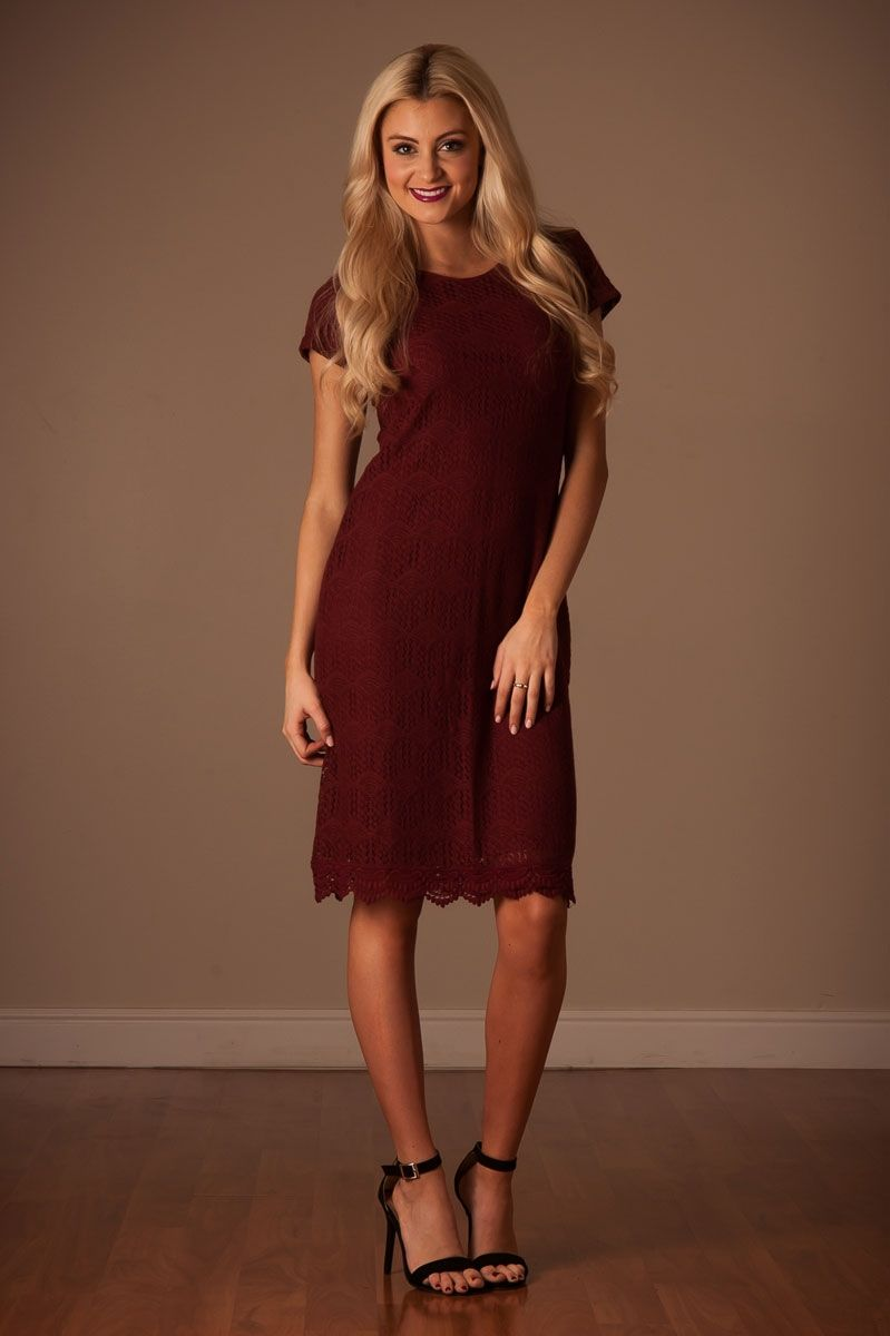 b42aa95d81c0d Our best selling Peaceful Lace Dress is back in beautiful fall colors! This  dusty burgundy dress has scalloped hemline details, slips on with  comfortable ...