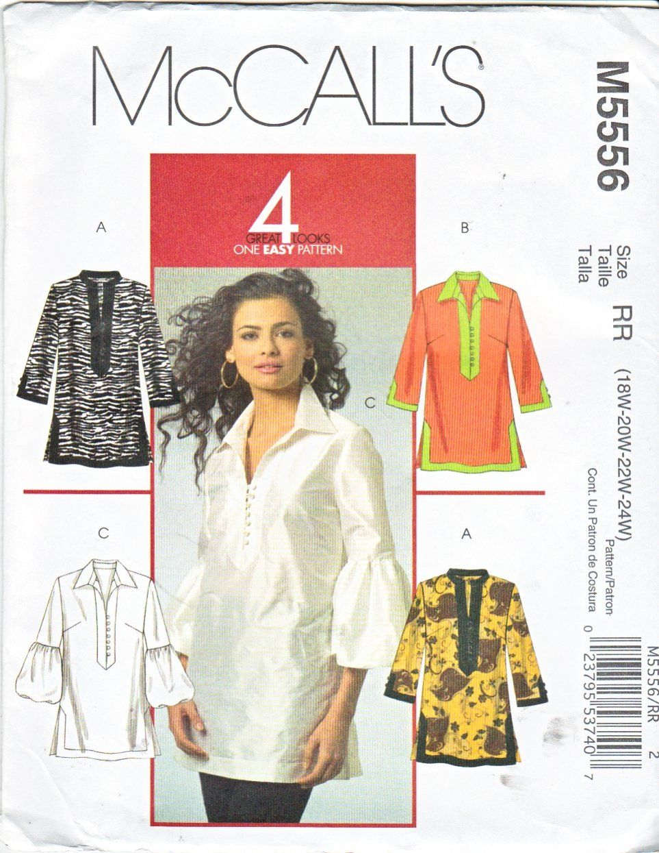 McCall's Sewing Pattern 5556 Womans Plus Size 18W-24W Pullover Tunic Top Sleeve Collar Variations  --  Currently Available for sale from www.MoonwishesSewingandCrafts.com