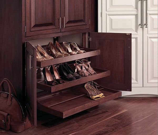 Wooden Shoe Rack Pull Out Design Ideas With Beautiful Decorative ...