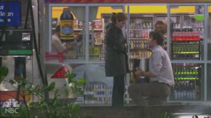 Jim proposing to Pam in the rain