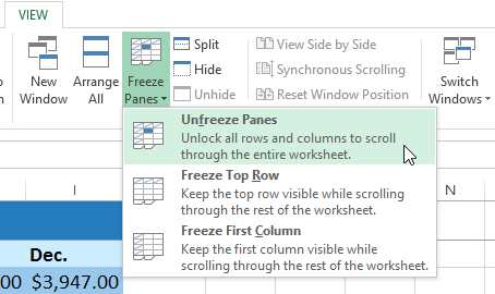 Excel 2013 Freezing Panes And View Options Excel Column The Row