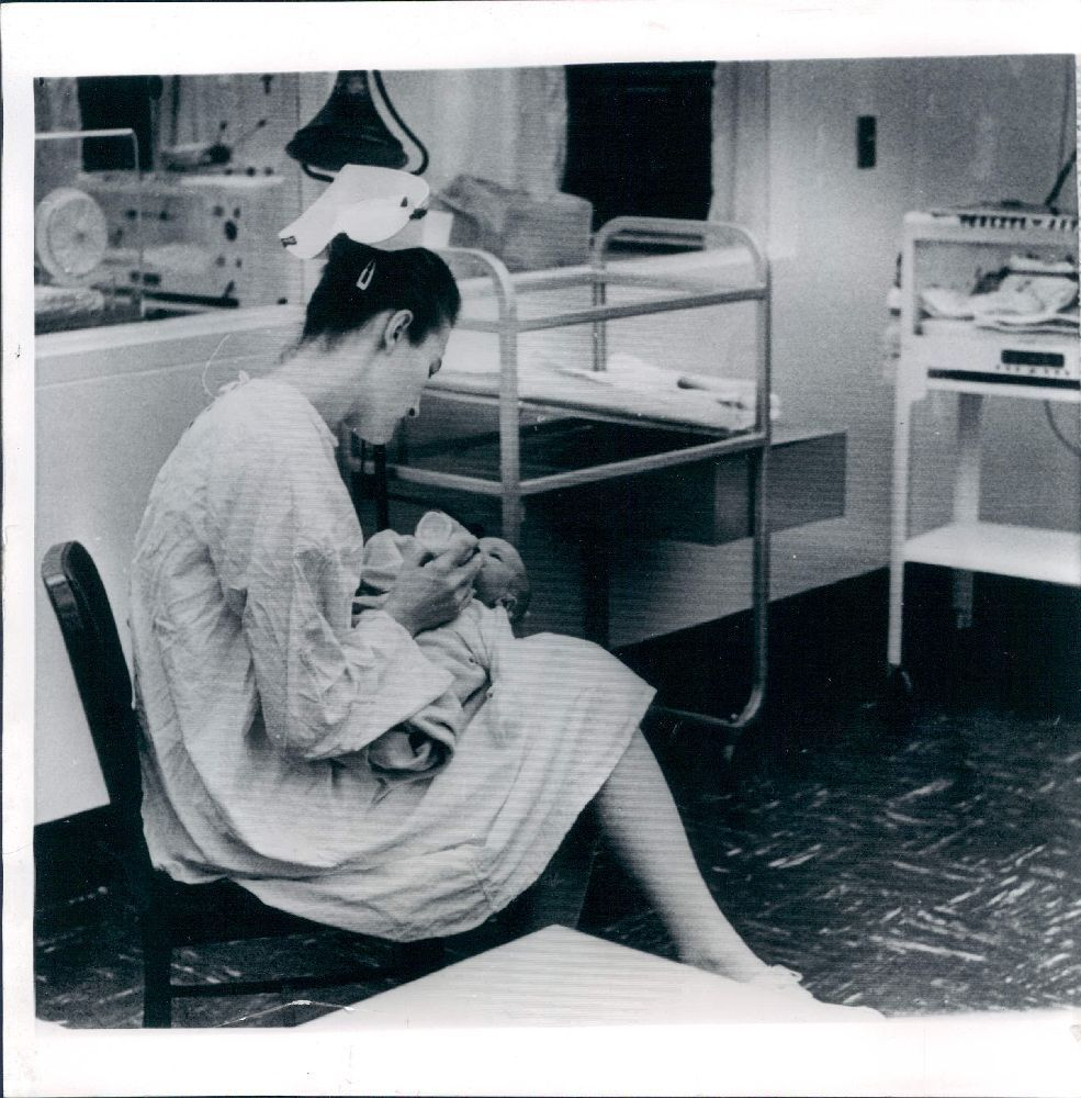 1962 New York Birmingham General Hospital Nurse with Baby