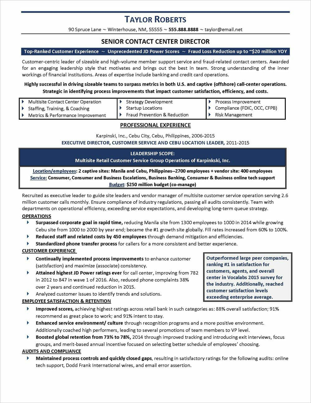 Call center resume example distinctive career services