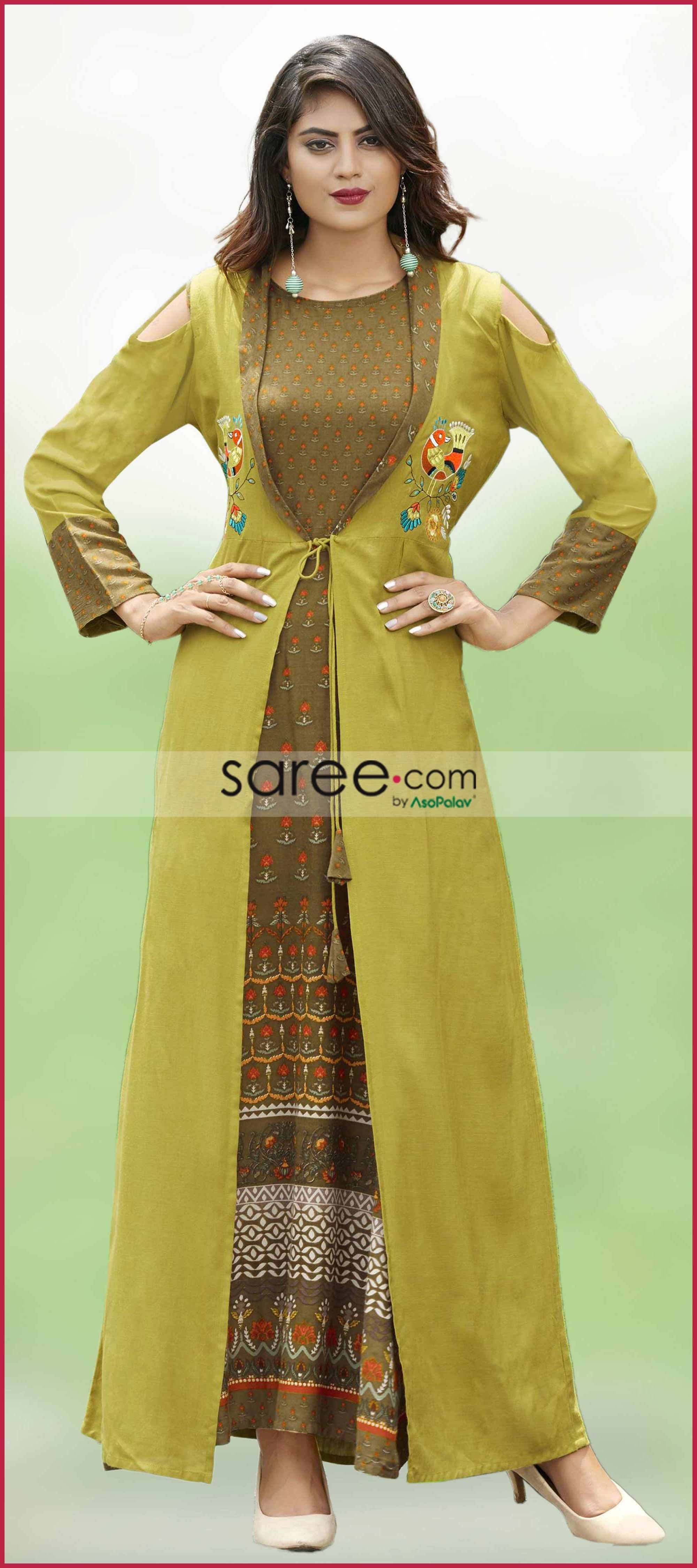 Olive green rayon printed kurti with long jacket fashion