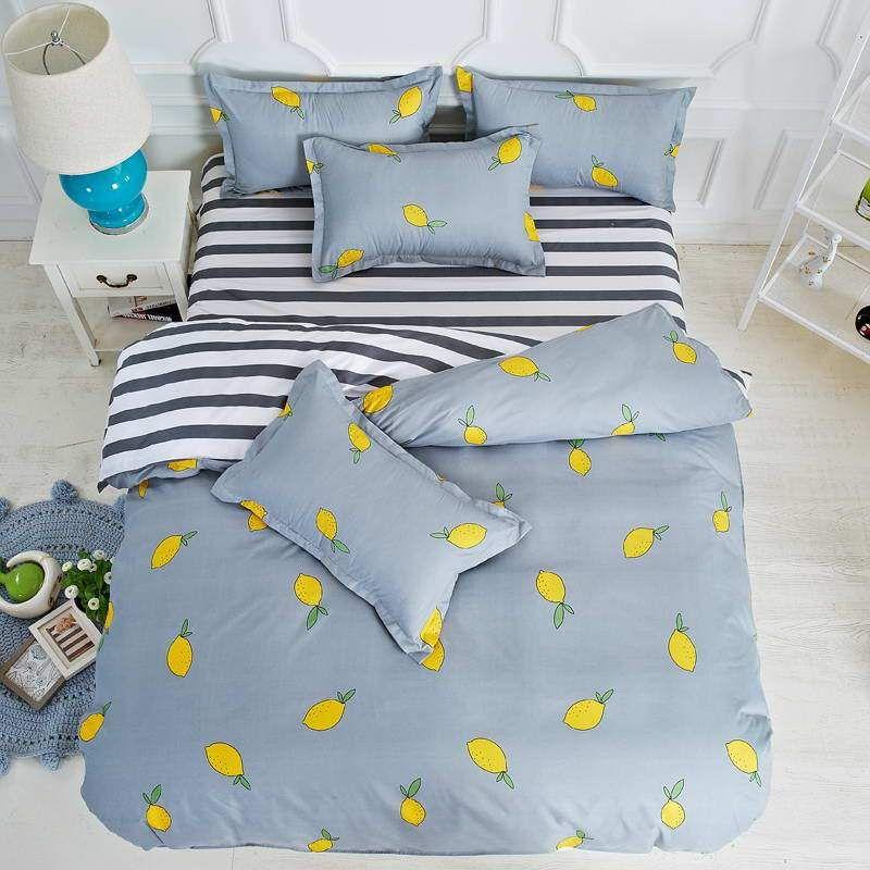Bedding Set Valanorean Home Lemon Stripes Good Quality Soft Duvet Tr