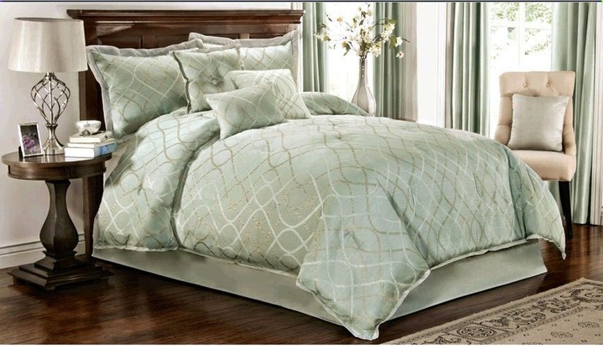 7 Piece Comforter Set Turquoise Light Colored Queen King Bedding