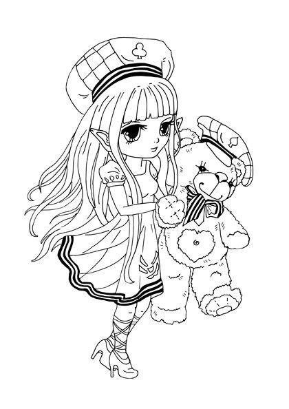 Kostenloses Ausmalbild Manga Mädchen mit Teddybär - gratis zum ...