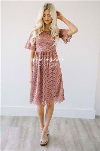 d1b4dcd54cdbf Pretty Mauve Scallop Lace Modest Dress | Best Online Modest Boutique for  Dresses | Cute Modest Clothes for Church