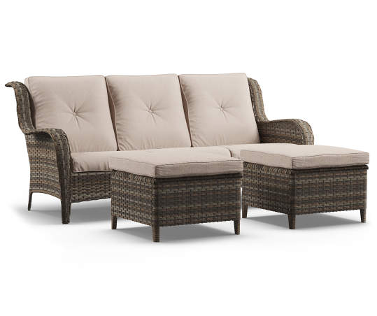 Wilson Fisher Oakmont All Weather Wicker Cushioned Sofa Ottomans 3 Piece Set At Big L Cushions On Sofa Patio Furniture Collection Big Lots Patio Furniture