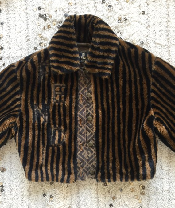 Vintage 90 S Fendi Ff Zucca Monogram Striped Eco Fur Bomber Jacket Evening Dress Coat Xs S M Super Rare Vintage Designer Clothing Fur Bomber Bomber Jacket