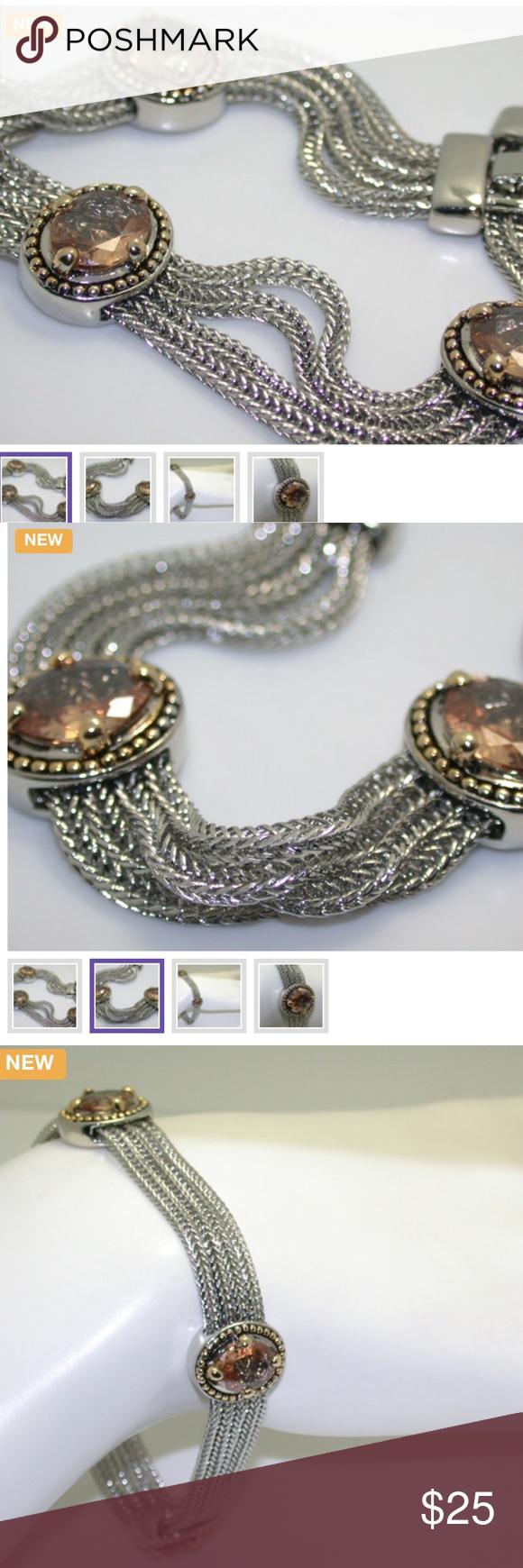 K whiteuyellow gold platedugolden topaz bracelet beautiful
