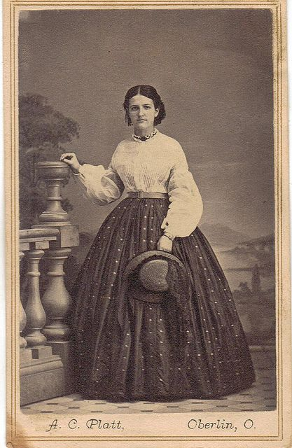 1860's Young lady wearing a nice shirt and blouse holding hat. Good example of simple, useful day wear. CDV.<- what does that mean anyway?
