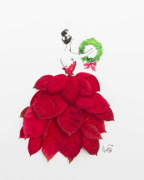 effa77aa8ea0 Drawing of a girl wearing a gown made with red poinsettia leaves art ...
