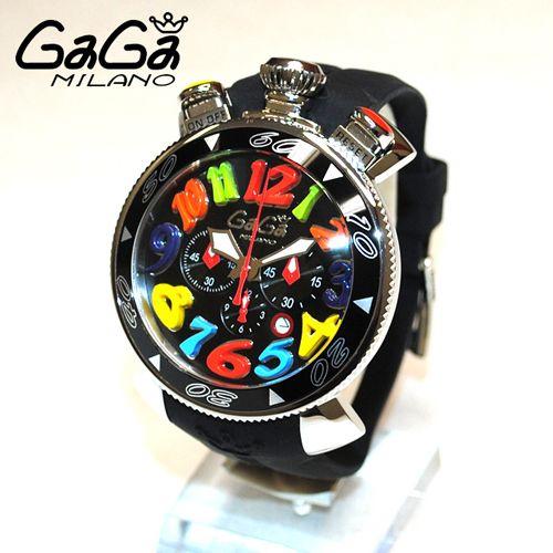 newest 2ed4a 3131f ガガミラノ 時計 スーパーコピー n級品 クロノ 48mm ブラック ...