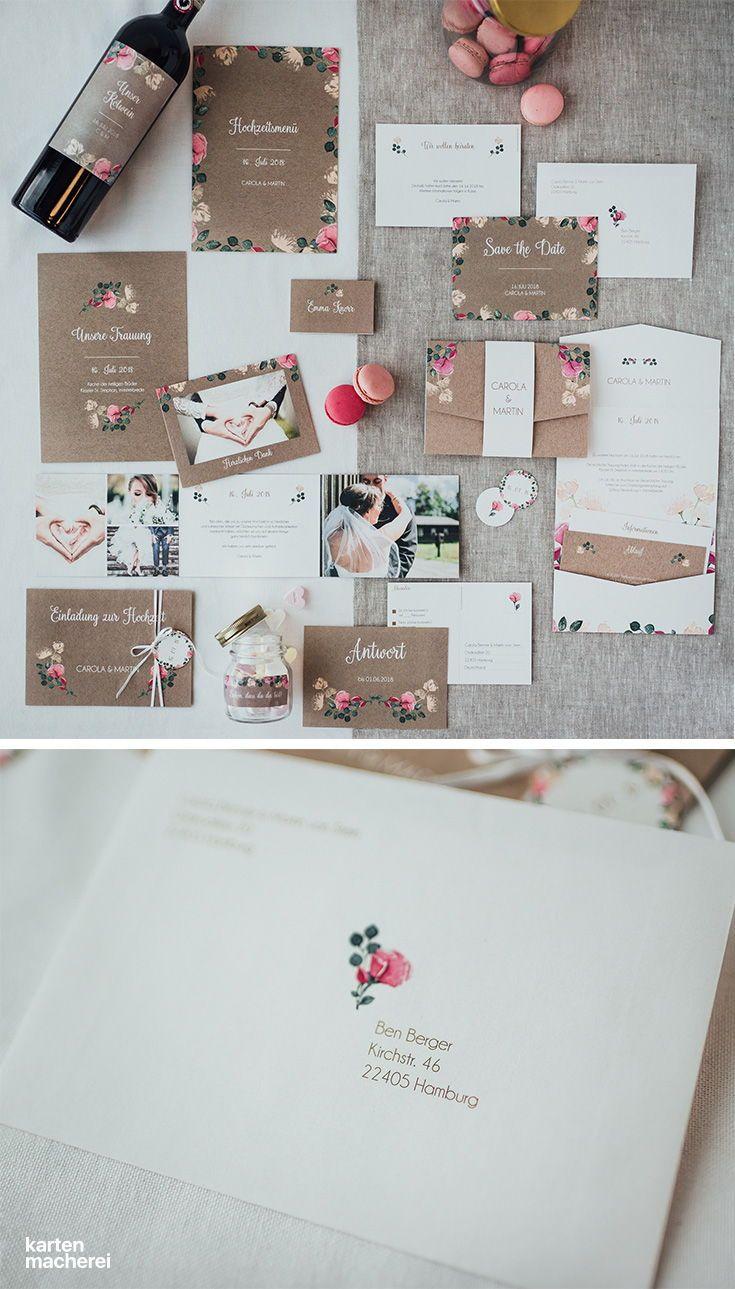 Komplette Hochzeitspapeterie Im Design Vintage Rose Damit Habt