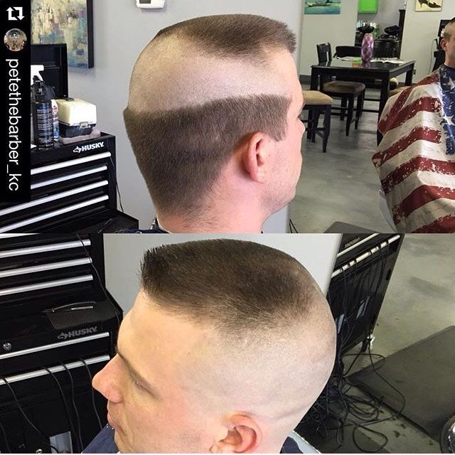 Barber shop haircut at midway point and at completion for Barber shop coupe de cheveux