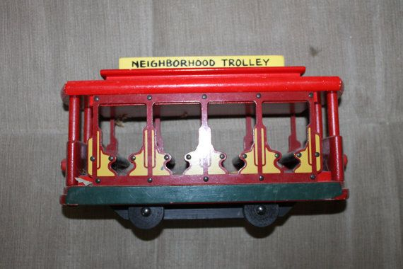 Vintage Mr Rogers Neighborhood Trolley Toy Wood Toy Colorful Child 39 S Room Decor Imaginative Play Mr Rogers The Neighbourhood Mister Rogers Neighborhood