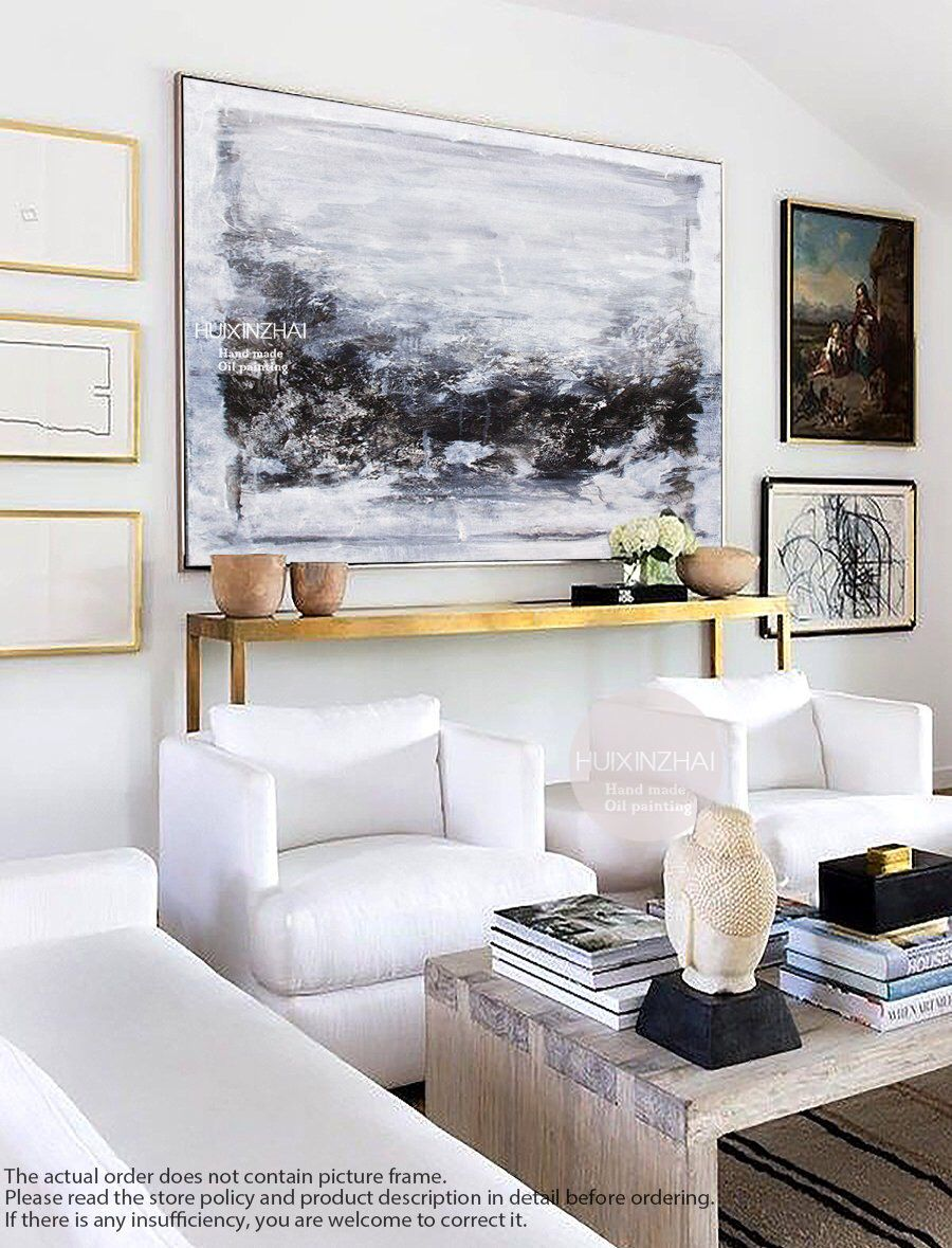 Extra Large Living Room Wall Art: Extra Large Wall Art, Abstract Painting, Gray Painting