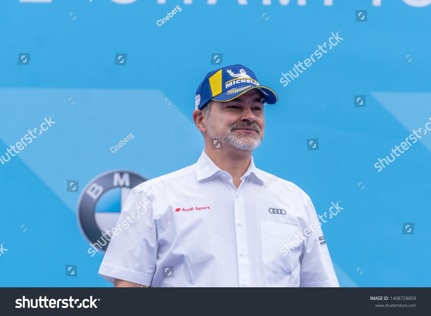 Berlin, Germany - May 25, 2019: Dieter Gass, head of Audi Motorsport, on the podium at the E-Prix A