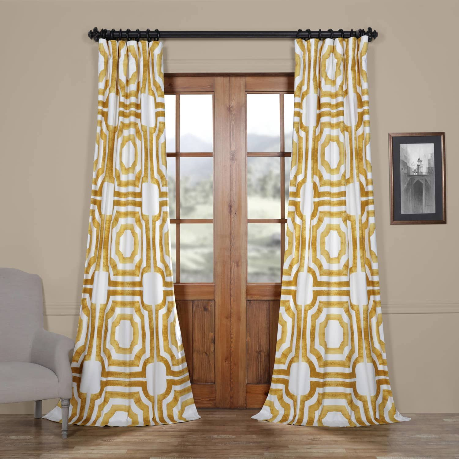 Mecca Gold Printed Cotton Curtain Panel Curtains Curtains