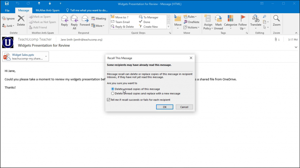 Recall A Message In Outlook Instructions And Video Lesson Video Lessons Lesson Messages
