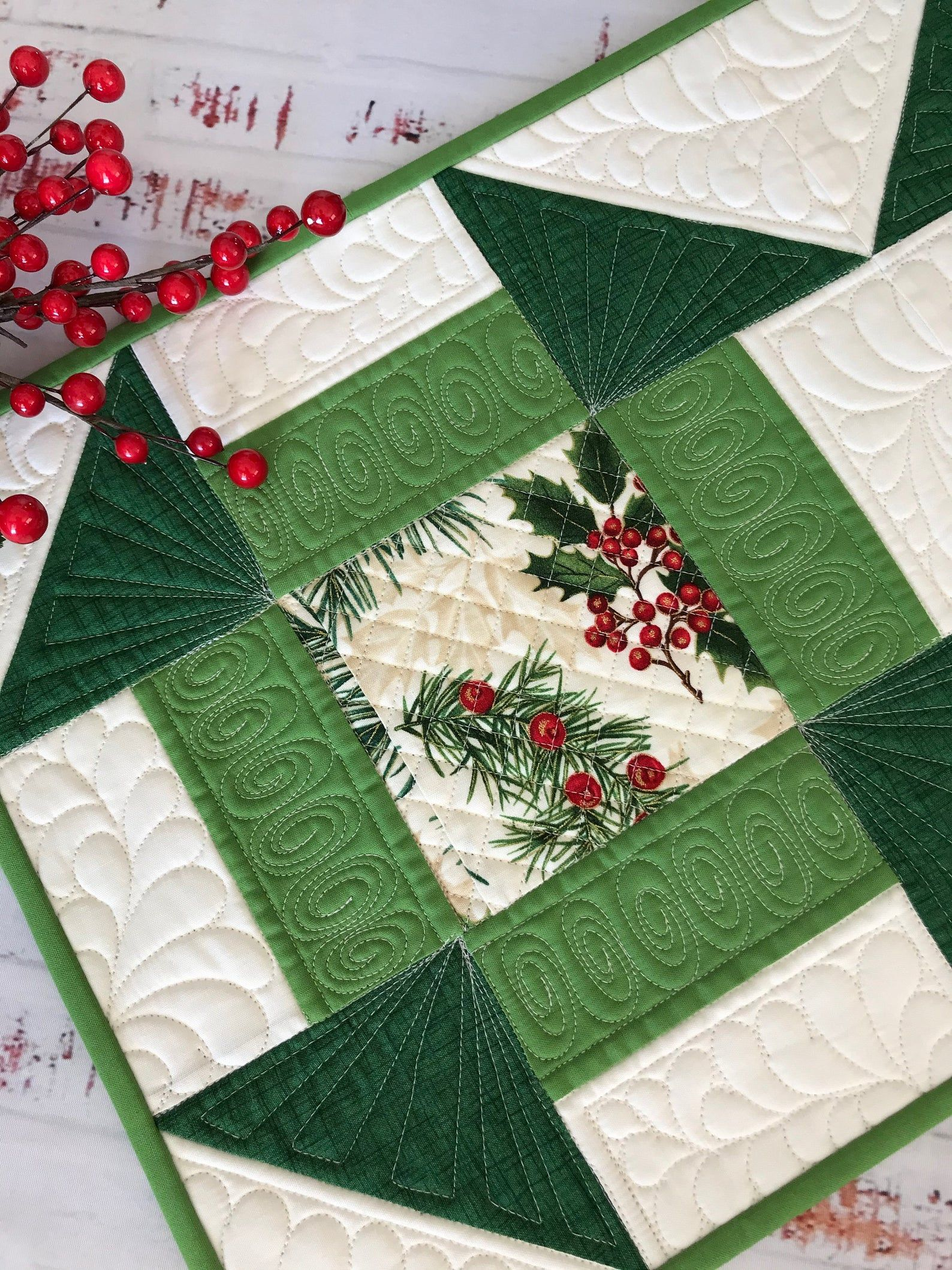 Quilted Christmas Holiday Winter Table Runner Christmas Table Runner Pattern Winter Table Christmas Table Runner